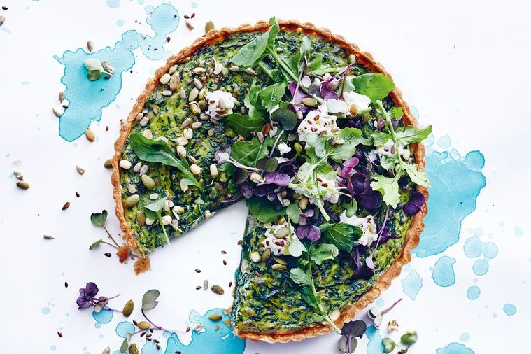 Leftover Greens, Seeds and Cheese Tart